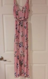 Topshop midi- length pink floral summer dress